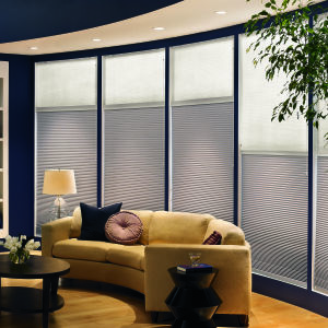 "Bali DiamondCell 3/8"" Single Cell Blackout Shades Room Setting"