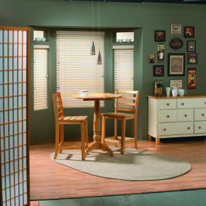 "Bali Essentials 2"" Faux Wood Blinds Room Setting"