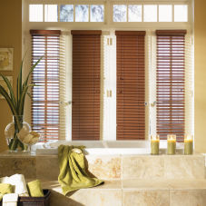 "Bali 2"" Faux Wood Blinds room scene"