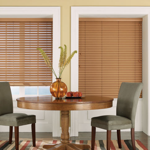 "Bali Essentials 2"" Privacy Faux Wood Blinds Room Setting"