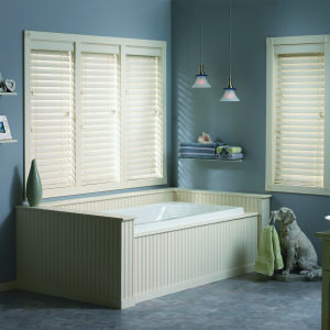 "Bali 2-1/2"" Faux Wood Blinds Room Setting"