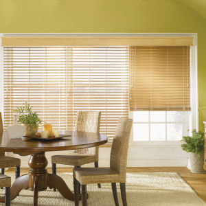 "Bali 2"" Premium Faux Wood Blinds Room Setting"