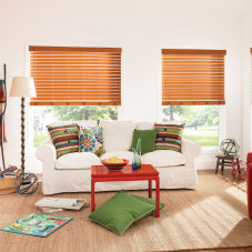 "Bali 2-1/2"" Premium Faux Wood Blinds room scene"