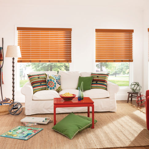 "Bali 2-1/2"" Premium Faux Wood Blinds Room Setting"