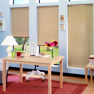 "Bali Lightblocker 1/2"" Micro Aluminum Blinds Room Setting"
