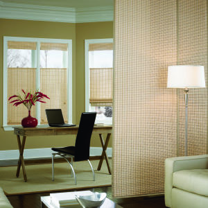 Bali Sliding Panels Natural Shade Fabrics Room Setting