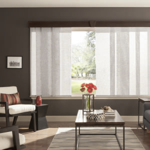 Bali Sliding Panels Roller Shade Fabrics Room Setting
