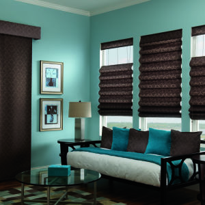 Bali Sliding Panels Roman Shade Fabrics Room Setting