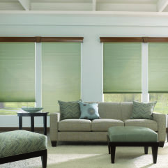 "Bali NeatPleat 1"" Light Filtering Shades room scene"