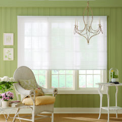 "Bali NeatPleat 1"" Sheer Shades room scene"
