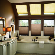"Bali SkyTrack 3/8"" Single Cell Light Filtering Shades room scene"