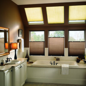 "Bali SkyTrack 3/8"" Single Cell Light Filtering Shades Room Setting"