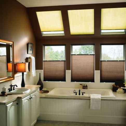 "Bali SkyTrack 3/8"" Single Cell Blackout Shades Room Setting"