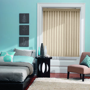 Bali Essentials S-Curve Vinyl Vertical Blinds Room Setting