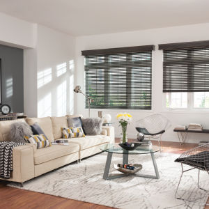 "Bali Northern Heights 2""  Wood Blinds Room Setting"