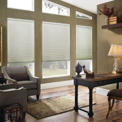 "BlindSaver Basics 3/8"" Double Cellular Cordless Shades room scene"