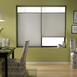 "BlindSaver Basics Top-Down/Bottom-Up 3/8"" Single Cell Cordless Cellular Shades Room Setting"