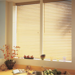 "BlindSaver Advantage 2"" Faux Wood Blinds room scene"