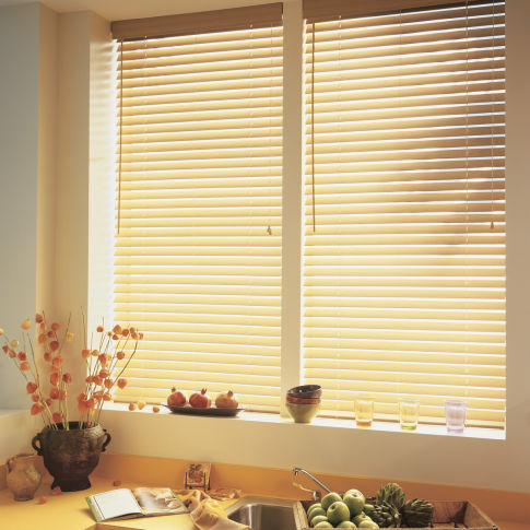 "BlindSaver Advantage 2"" Faux Wood Blinds Room Setting"