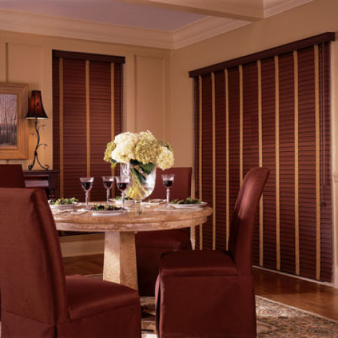 "BlindSaver Studio 2"" WoodTones Composite Blinds Room Setting"