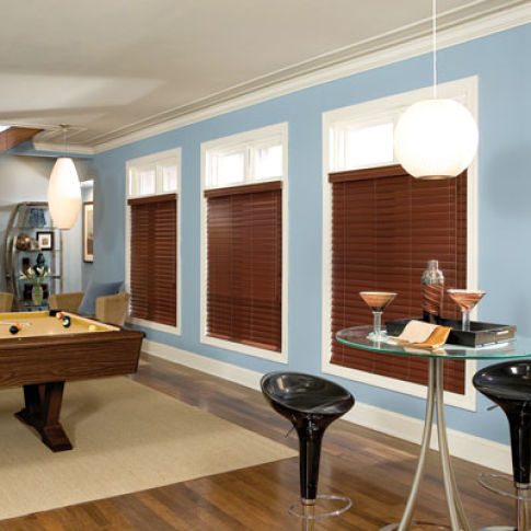 "BlindSaver Studio 2-1/2"" WoodTones Composite Blinds Room Setting"