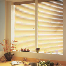 "BlindSaver Basics Express 2"" Faux Wood Blinds room scene"