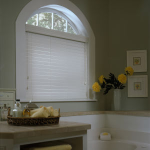 BlindSaver Advantage NiteGuard™ Privacy Faux Wood Blinds Room Setting