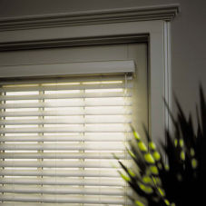 "BlindSaver Express 2"" Faux Wood Blinds room scene"