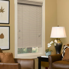 "BlindSaver Advantage 1"" Faux Wood Blinds room scene"