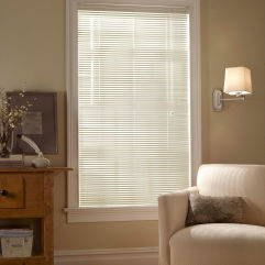 "BlindSaver Basics 1"" Privacy Mini Blinds room scene"