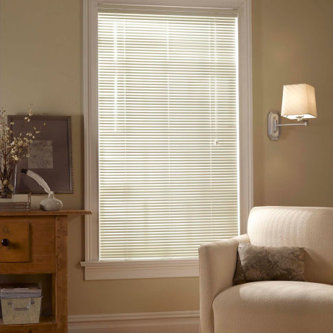 "BlindSaver Basics 1"" Privacy Mini Blinds Room Setting"