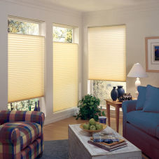 "BlindSaver Studio 1"" Pleated Shades room scene"