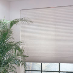 "BlindSaver Basics 1"" Pleated Shades room scene"