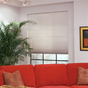"BlindSaver Basics 1"" Pleated Shades Room Setting"