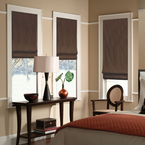 BlindSaver Advantage Custom Flat Fold Roman Shades Room Setting