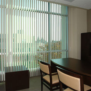 BlindSaver Basics Vinyl Vertical Blinds Room Setting