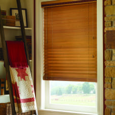 "BlindSaver Basics 2"" Wood Blinds room scene"