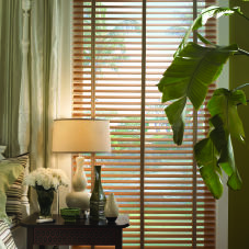 "BlindSaver Advantage 1-3/8""  Wood Blinds room scene"