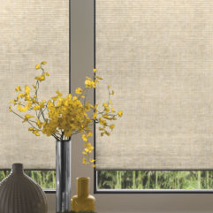 "Comfortex Signature Collection 1/2"" Single Cell Light Filtering Shades room scene"