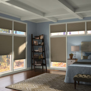 "Comfortex Signature Collection 3/8"" Double Cell Blackout Shades Room Setting"