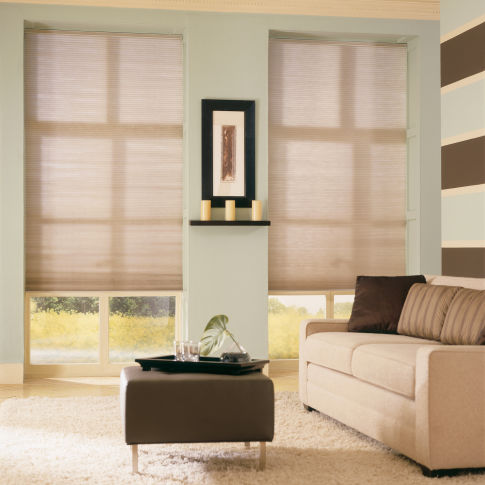 "Comfortex Signature Collection 3/4"" Single Cell Light Filtering Shades Room Setting"