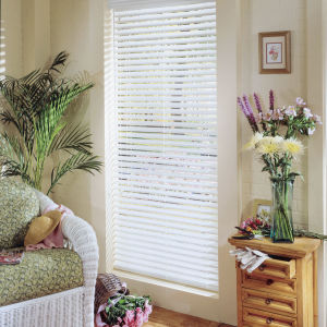 "Comfortex WoodWinds 2"" Wood Alloy Blinds Room Setting"