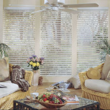 "Comfortex WoodWinds 2-1/2"" Wood Alloy Blinds room scene"