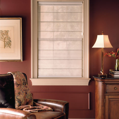 Comfortex Envision Flat Panel Roman Shades Room Setting