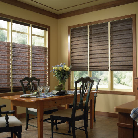 Comfortex Envision Hobbled Roman Shades Room Setting