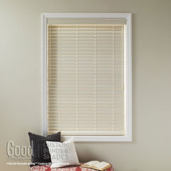 "Good Housekeeping Polymer 2"" Wood Alloy Blinds room scene"
