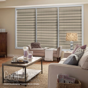 Good Housekeeping Hobbled Roman Shades Room Setting