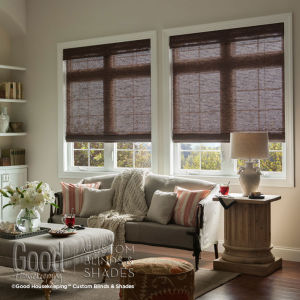 Good Housekeeping Classic Flat Roman Woven Wood Shades Room Setting