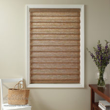 Good Housekeeping Hobbled Roman Woven Wood Shades room scene