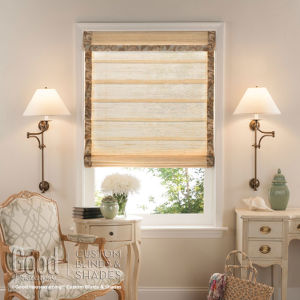 Good Housekeeping Hobbled Roman Woven Wood Shades Room Setting